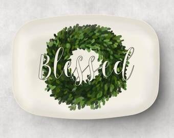 Personalized Platter  Blessed Serving Tray   Monogram Wedding Gift  Hostess Gift  Kitchen Decor  Monogram Platter - Gift for Mom