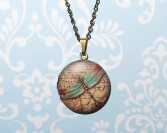 DRAGONFLY LOCKET NECKLACE - 'Vintage Butterfly'  in Antique Gold - Vintage Inspired