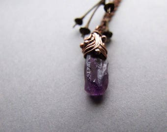 Small Amethyst Necklace, Bohemian Natural Gemstone Necklace, Amethyst Jewelry