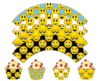 Emoji Cupcake Wrappers, Smiley Printable Cupcake Wrappers, Emoji Theme Party Decor - Instant Download-DP462