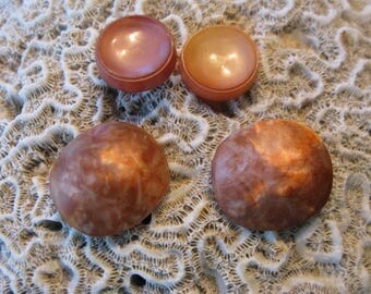 "HEAVENLY Large Coral Rose Gold Swirl Luminescent Varigated Possibly Seashell Buttons 1"" Focal Pair & 2 Small Accent Buttons Stocking Stuffer"