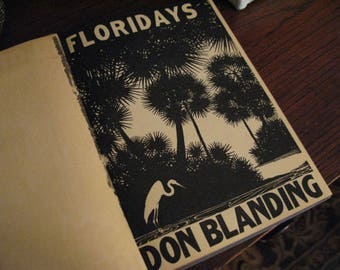 Lovely ART DECO Vibes 1940s Floridays Book Don Blanding 47 Poems & Reflections of Old Florida Glorious Linocut Art Prints HARD Copy Nature