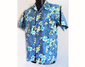 1950s KAIKAMAHINE man's Hawaiian shirt / loop collar / M / blue / Hipster / Boho / Atomic /M