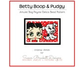 Betty Boop and Pudgy Pattern, DIY Beaded Amulet Necklace, Peyote Double Sided Patterns, Beading Tutorial, Pop Icon Art, Cartoon Character