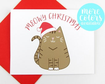 Meowy Christmas Card | Cat Christmas Card | Cat | Holiday Card | Set of Christmas Cards | Cute Christmas Card | Card for Cat Lovers