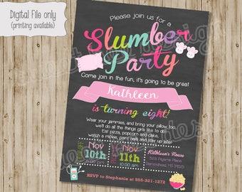 Pajamas Birthday Invitation, Slumber Party Invitation, Pajama Party Invitation, Girl Birthday Invitation, Sleepover Invitation, Pajamas