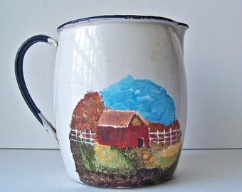 Vintage Enamelware Pitcher Hand Painted Barn Scene Vintage Kitchen Vase Country Kitchen White Picket Fence 1950s