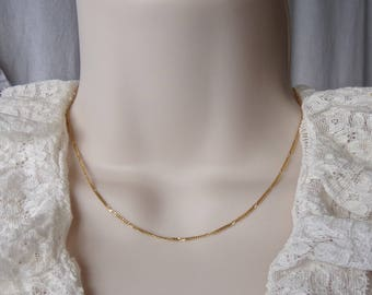 Vintage 14K Gold Flat 1.25 mm by Vier 15 Inch Italian Gold Chain Necklace 1980s