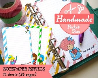 HANDMADE POCKET Kokeshi Girls Notepaper Refills Inserts Filofax Pocket, Louis Vuitton PM Agenda, Kikki.K Small Planner