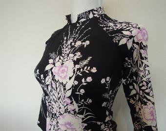 Vtg 70's Black Poly Jersey Floral Cheongsam Blouse Tunic Dress Size S to XS XXS
