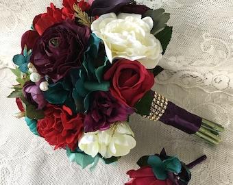 Wedding bouquet,Plum Purple Bridal bouquet, Burgundy Wedding bouquet,Jewel tone bouquet,Wedding accessory,Silk Wedding flowers,CHOOSE COLORS