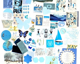 Blue Scrap Pack, Mixed media pack, Scrap-booking Pack, Collage papers, Blue Embellishments, paper scraps, Paper Ephemera pack