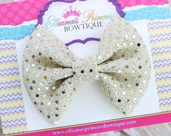 Baby Bows, Toddler Bows, Girls Hair Bows, Hair Clips, Boutique Hair Bows, Sparkle Hair Bow, Gold Sequin Bow, Nylon Headband, 4 Inch Bow