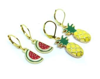 FRUIT Gold Enamel Lever Back Earrings SET - 2 Pairs