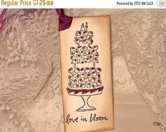 March Sale Elegant Glittered Wedding Cake Gift Tag Wish Tags ECS Hot Pink Love in Bloom