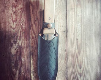 Etched feather hori hori sheath