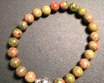 Mens Olive Unakite Bracelet