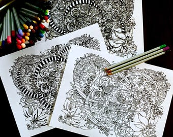 Coloring Page Set of Three Original Crescent Moon Art Detailed Floral Design Adult Kids Activity