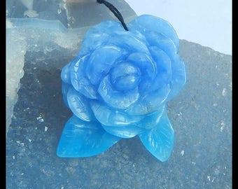 NEW! Handmade Carved Jasper Flower Charm Pendant Bead,38x33x4mm,10.7g