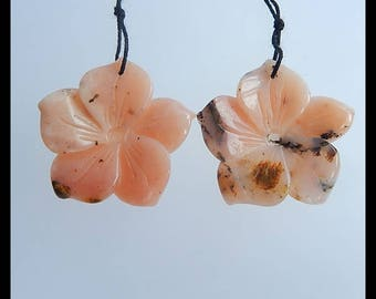 New,Handmade Carved Pink Opal Flower Earring Bead,28x28x5mm,7.1g