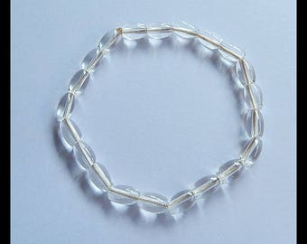 New,White Quartz Gemstone Bracelet Beads,8x5mm,6.4g,8.2cm(SET034)