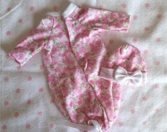 """3 PC Flower Gown Set for a 8""""-9"""",  OOAK Doll Clothes"""