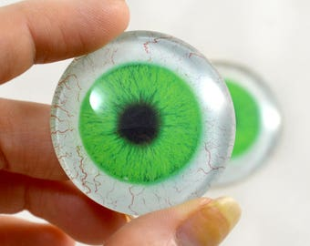 40mm Extra Large Bright Green Human Glass Eyes Pair for Jewelry Making or Art Doll Sculptures Big Eyeball Flatback Domed Circle Cabochons