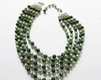 On Sale Japan Bib Necklace 5 Strands Green Beaded Vintage Bib Necklace