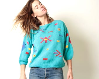 southwest 90s IKAT vintage ABSTRACT boxy slouchy mint blue light pastel sweater