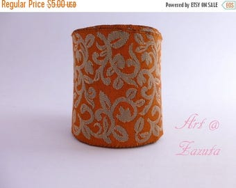 ilovesales Orange and Dull Gold Floral   embroidered  Fabric trim- 1 Yard