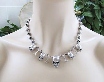 Solid Skull Sterling Silver Necklace, Biker Necklace, Rocker statement necklace
