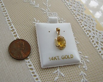 14k Gold Oval Citrine Pendant