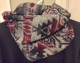 Southwestern infinity scarf, unisex scarf, scarves for women, scarf for men, valentine's gift, gifts for her, gifts for him, infinity scarf