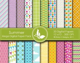 40% off Summer Mega Paper Pack - 20 Printable Digital scrapbooking papers - 12 x12 - 300 DPI