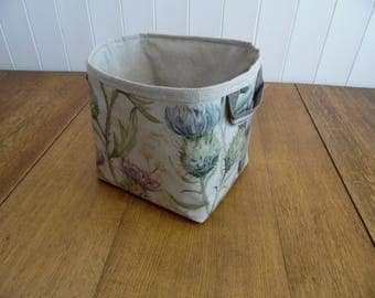Voyage Thistle Print Large Storage Basket Bin- linen cotton mix lining