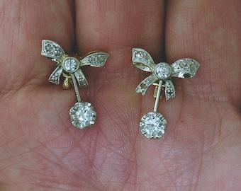 ANTIQUE DIAMOND EARRINGS~Beautiful Platinum-on-gold Diamond Bow Dangles