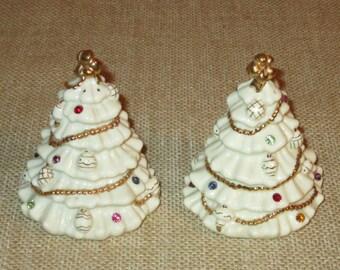 Lenox Christmas Tree Salt and Pepper Shakers Gems 24K Gold Trim