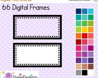 40% OFF SALE Heart Rectangle Clip Art Labels - Instant Download - Commercial Use