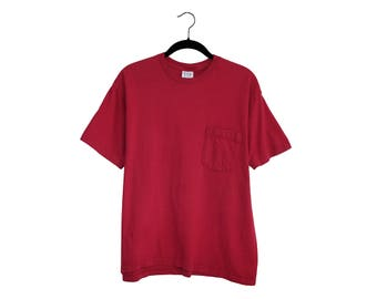 Vintage GAP 90's Dark Red 100% Cotton Pocket T-shirt, Made in USA - Small
