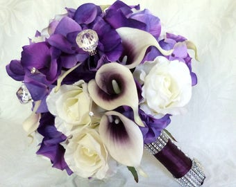 Picasso Real Touch Calla Lily Bridal Bouquet  purple heart calla lily with purple hydrangea and creme white roses 4 piece set