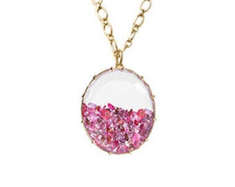 Pink Sapphire and Ruby Shake Necklace (oval shape) 18k - Shaker Necklace