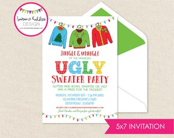 Christmas Tacky Sweater Invitation, Ugly Sweater Invitation, Christmas Party, Tacky Sweater Party, Lauren Haddox Designs