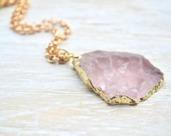 Rose Quartz Necklace, Raw Crystal Necklace, Pink Quartz Crystal Necklace with Gold Rolo Chain, Gemstone Jewelry, Natural Stone Necklace