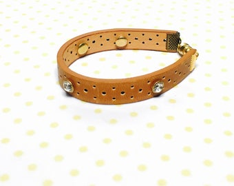 Boho Leather Bracelet, brown, leather, clear rhinestone summer fashion, Hand Made in The USA, Item No. L142