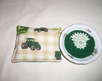 Unsponge and Scrubby Set - John Deere Unsponge - Nylon Crochet Scrubby - Scrubbies - Crochet Scrubby - Cleaning Set - Unsponge - Reuseable