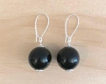 Black Basics Acrylic Ball Earrings - Free Shippings Worldwide