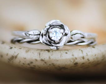 White Sapphire Twist And Rose Silver Engagement Ring Set Diamond Alternative Bridal