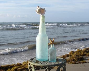 Set of Two Vintage Antique Aqua Bottles with Starfish and Seashell