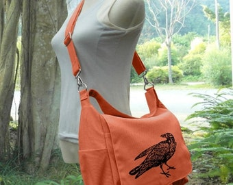 Easter Sale 20% off - Personalized orange canvas messenger bag for women, boys school bag, travel bag, shopping bag, diaper bag and laptop b