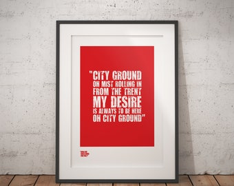 "Nottingham Forest Print / ""Oh City Ground"" / Sports Poster / Nottingham Forest Gifts / Soccer Print / Football Team Gifts / Football Art"
